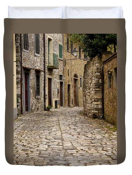 Down The Road In Montefiorella Duvet Cover by Rae Tucker