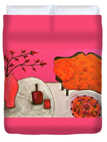 Duvet Cover featuring the painting Down The Stairs Into The Living Room  By Paul Paucciarelli  by Iconic Images Art Gallery David Pucciarelli