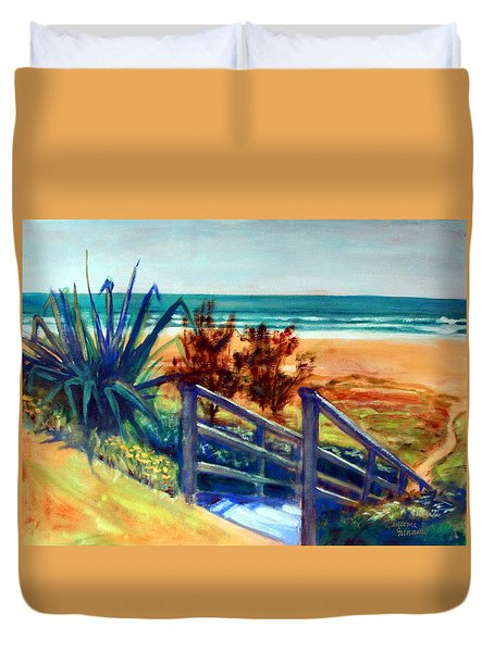 Down The Stairs To The Beach Duvet Cover