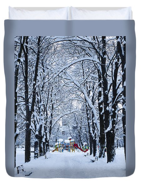 Down To The Park Duvet Cover by Rae Tucker