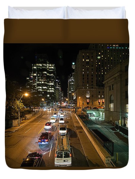 Duvet Cover featuring the photograph Down Town Toronto At Night by John Black