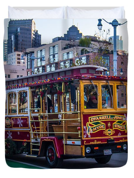 Down Town Trolly Car Duvet Cover by Brian Williamson