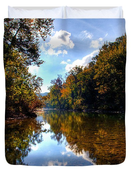 Duvet Cover featuring the photograph Downriver At Ozark Campground by Michael Dougherty