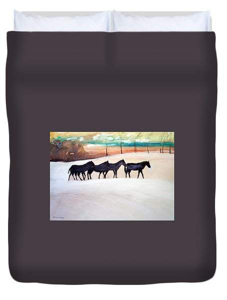 Downs Stables Duvet Cover by Ed Heaton