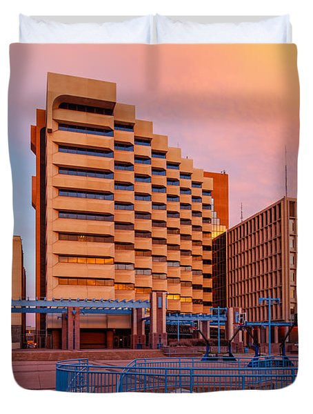 Downtown Albuquerque Harry E. Kinney Civic Plaza And Bernalillo County Clerk Office - New Mexico Duvet Cover