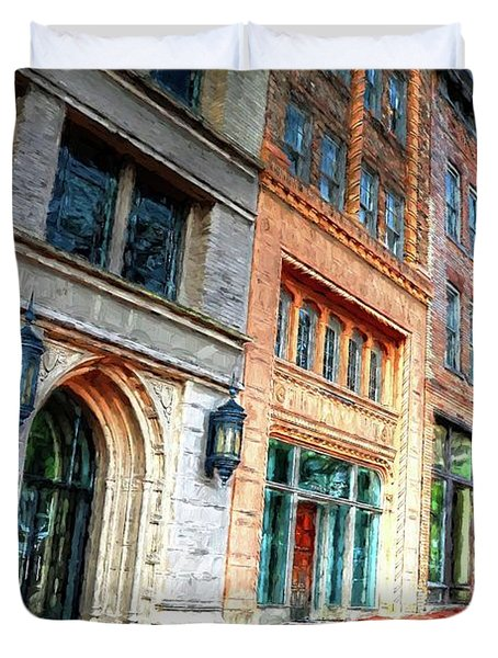 Downtown Asheville City Street Scene II Painted Duvet Cover