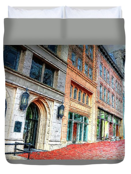 Downtown Asheville City Street Scene II Painted Duvet Cover