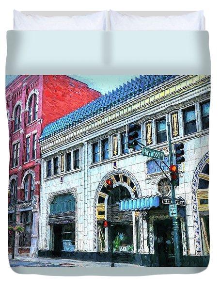 Downtown Asheville City Street Scene Painted  Duvet Cover