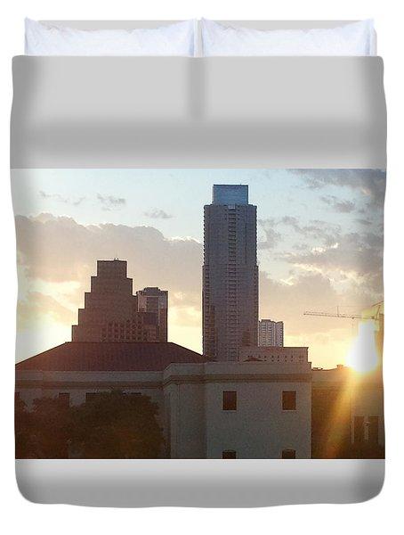 Downtown Austin Duvet Cover by Karen J Shine
