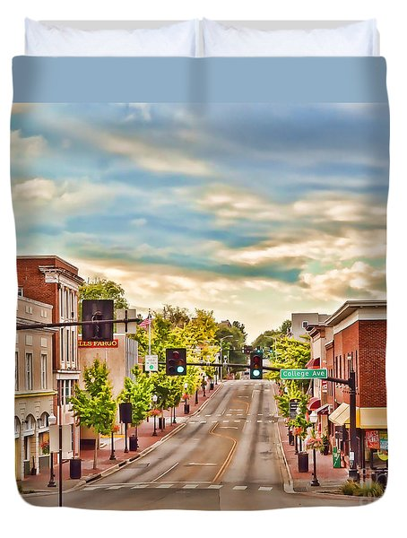 Downtown Blacksburg Duvet Cover by Kerri Farley