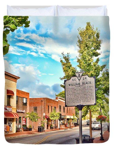 Downtown Blacksburg With Historical Marker Duvet Cover