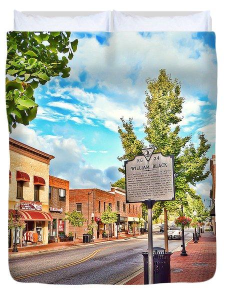 Downtown Blacksburg With Historical Marker Duvet Cover by Kerri Farley