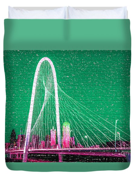 Downtown Dallas Graffiti Duvet Cover