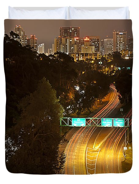 Downtown From El Prado Duvet Cover