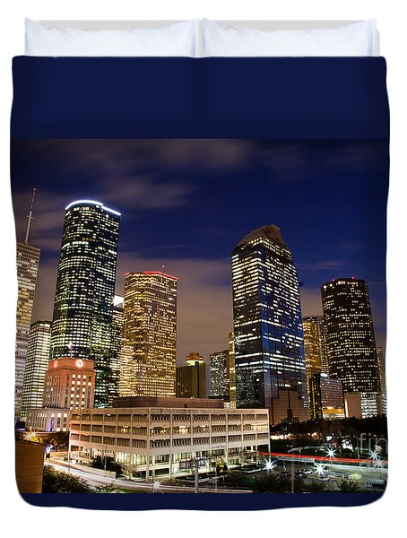 Downtown Houston At Night Duvet Cover