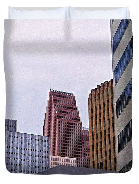 #downtown #houston On A Gloomy Cold Duvet Cover