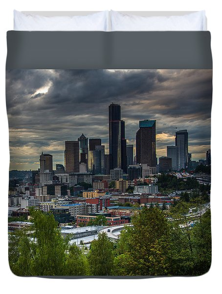 Duvet Cover featuring the photograph Downtown by Jerry Cahill
