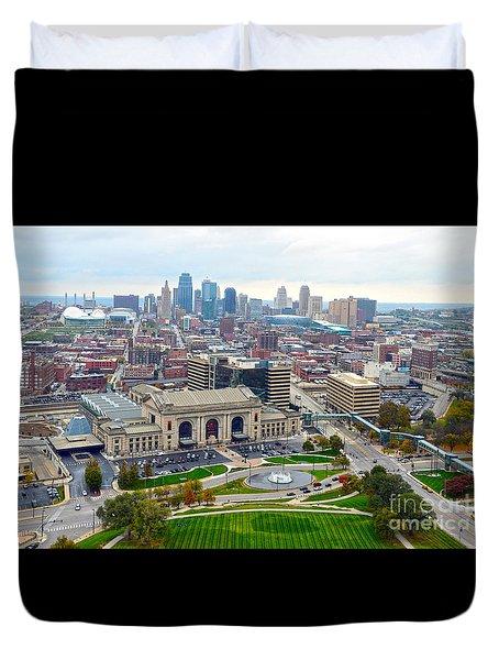 Downtown Kansas City From Liberty Memorial Tower Duvet Cover