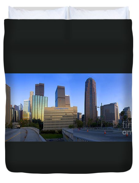 Downtown Los Angeles Skyline Duvet Cover by Wernher Krutein