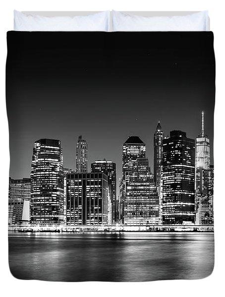 Downtown Manhattan Bw Duvet Cover by Az Jackson