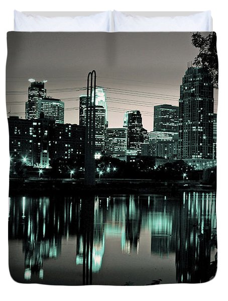Downtown Minneapolis At Night II Duvet Cover