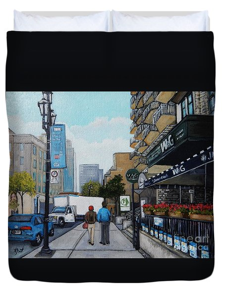 Downtown Montreal Duvet Cover by Reb Frost