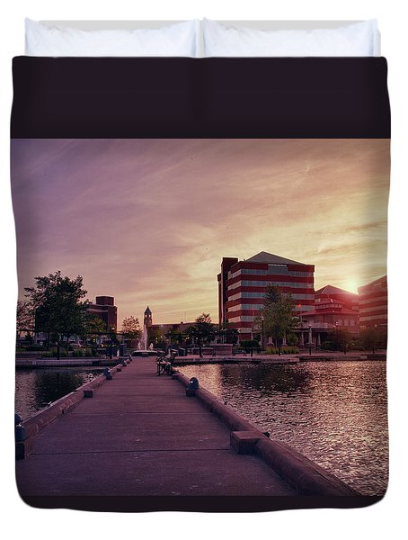 Duvet Cover featuring the photograph Downtown Neenah Sunset by Joel Witmeyer