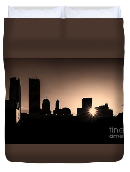Duvet Cover featuring the photograph Downtown Oklahoma City by Betty LaRue