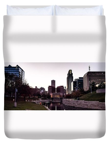 Downtown Omaha At Sunset Duvet Cover