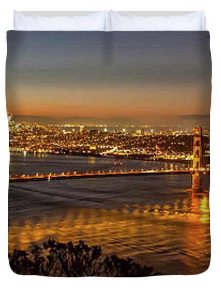 Downtown San Francisco And Golden Gate Bridge Just Before Sunris Duvet Cover