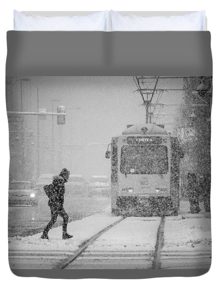 Downtown Snow Storm Duvet Cover
