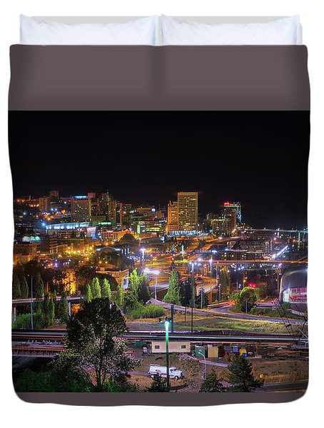 Downtown Tacoma Night Duvet Cover