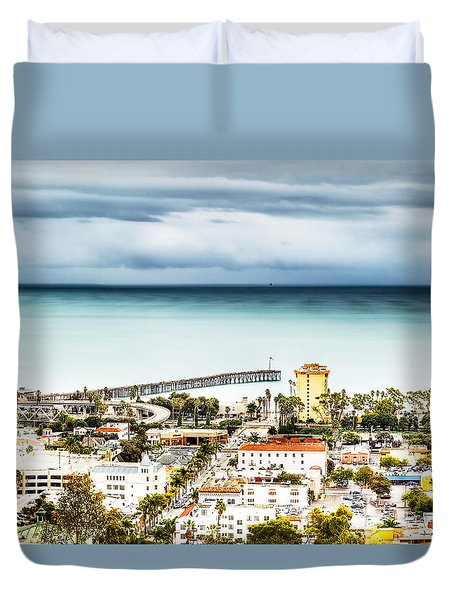 Downtown Ventura And Pier Duvet Cover