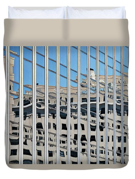 Duvet Cover featuring the photograph Downtown Window Reflections - Washington by Stuart Litoff