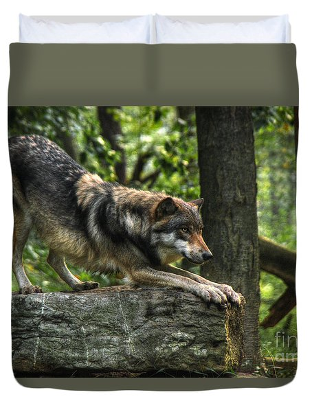 Downward Facing Wolf Duvet Cover