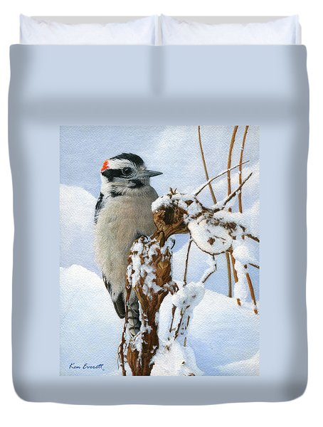 Downy Woodpecker  Duvet Cover by Ken Everett