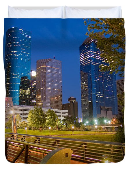 Dowtown Houston By Night Duvet Cover by Olivier Steiner