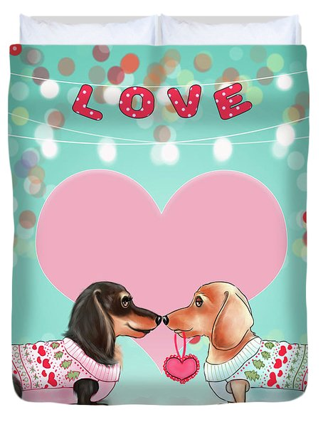 Duvet Cover featuring the painting Doxie Valentine's Party by Catia Lee