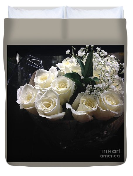 Dozen White Bridal Roses Duvet Cover by Richard W Linford