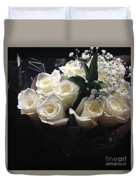 Dozen White Bridal Roses Duvet Cover