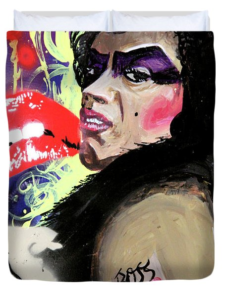 Duvet Cover featuring the painting Dr. Frank N. Furter by eVol i
