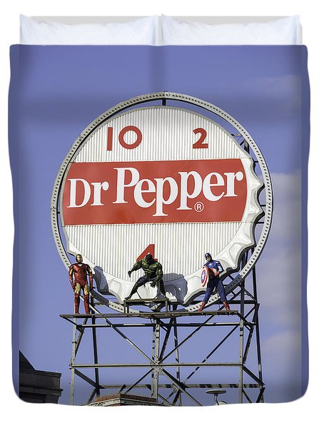 Dr Pepper And The Avengers Duvet Cover