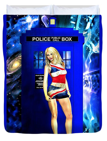 Doctor Who - Tardis And Rose Tyler Duvet Cover