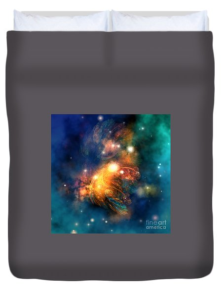 Draconian Nebula Duvet Cover by Corey Ford