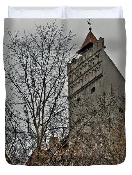 Dracula's Castle Transilvania In Hdr Duvet Cover