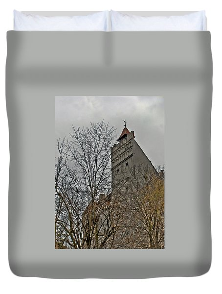 Duvet Cover featuring the photograph Dracula's Castle Transilvania In Hdr by Matthew Bamberg