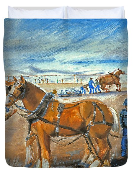 Draft Horse Pull Duvet Cover by Dawn Senior-Trask