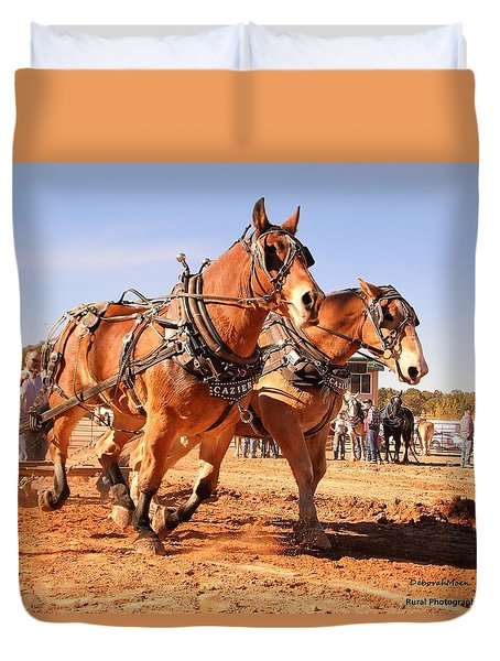 Draft Horse Pulling Cedar City Livestock Festival 2015 Duvet Cover