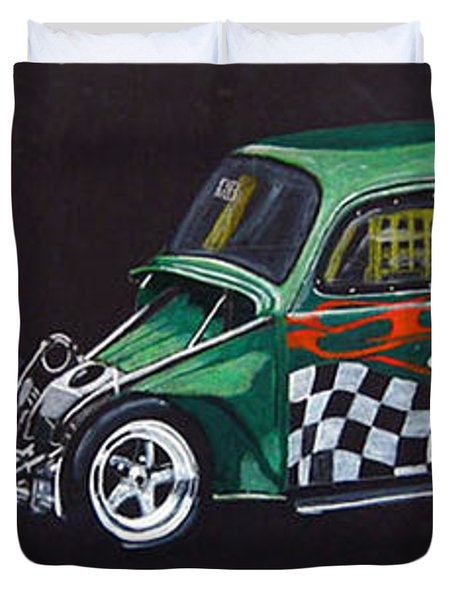 Duvet Cover featuring the painting Drag Racing Vw by Richard Le Page