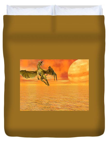 Dragon Against The Orange Sky Duvet Cover
